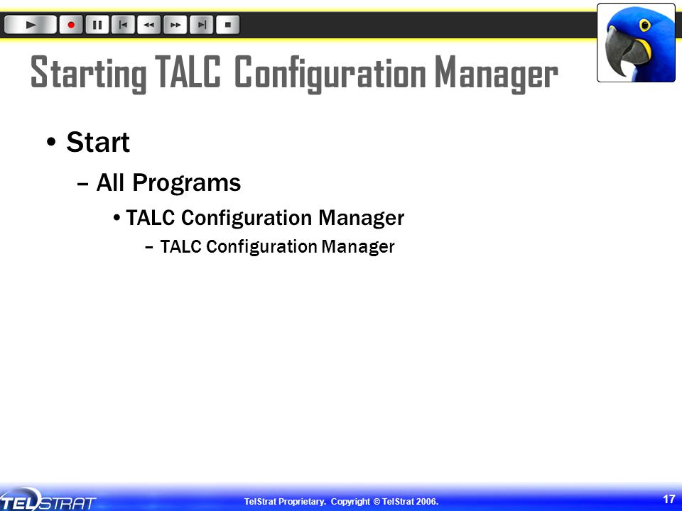 Starting TALC Configuration Manager