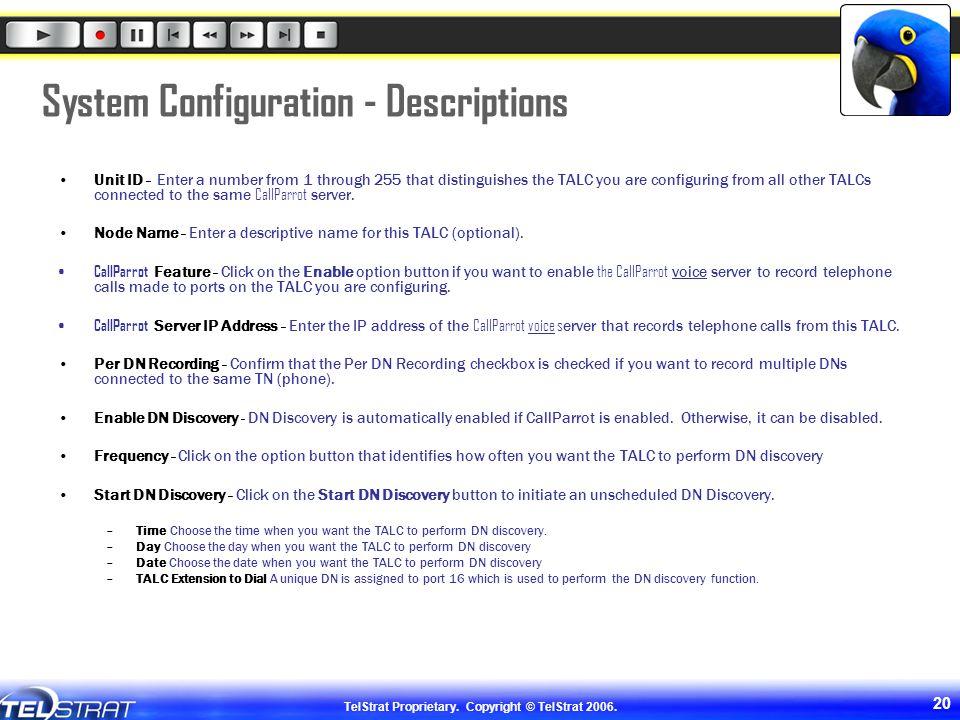 System Configuration - Descriptions