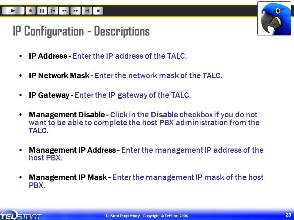IP Configuration - Descriptions