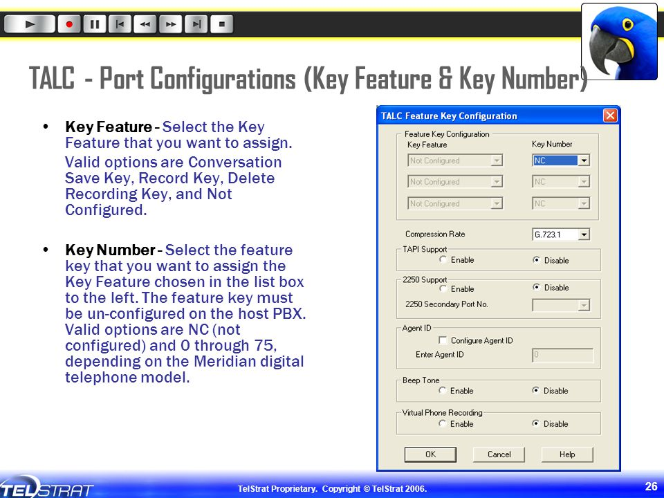 TALC - Port Configurations (Key Feature & Key Number)