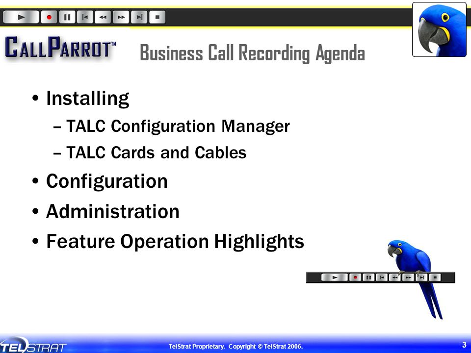 Business Call Recording Agenda