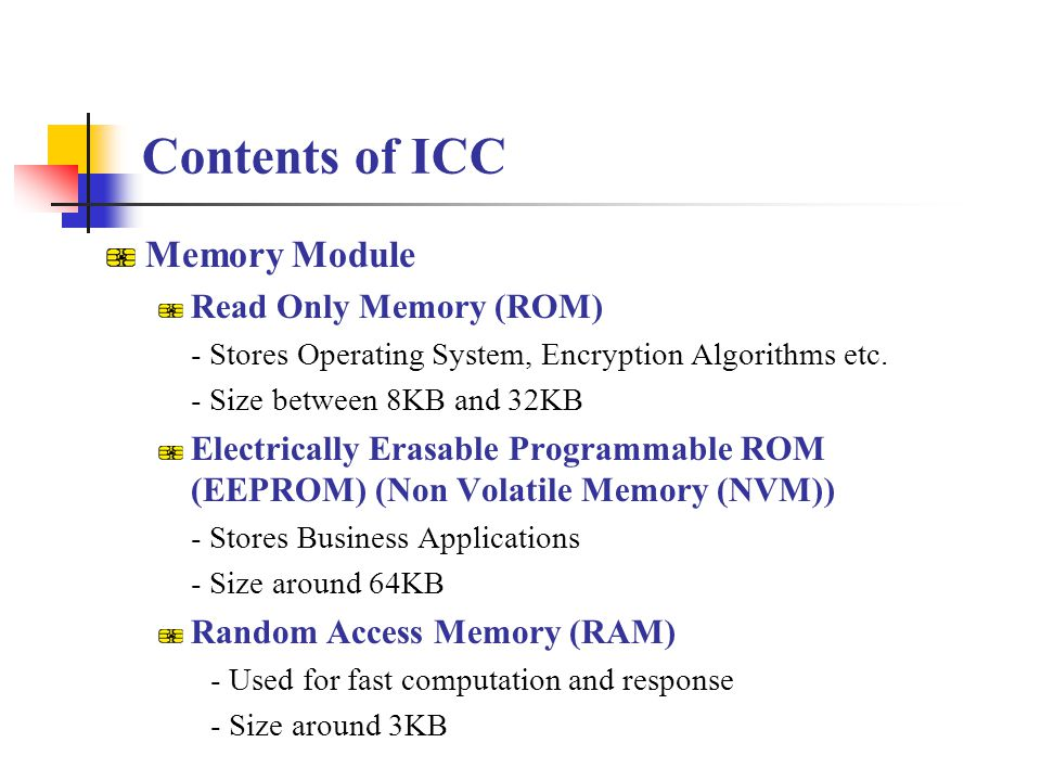 Contents of ICC Memory Module Read Only Memory (ROM)