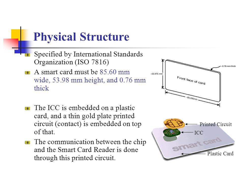 Physical Structure Specified by International Standards Organization (ISO 7816)