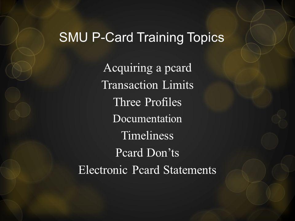 SMU P-Card Training Topics