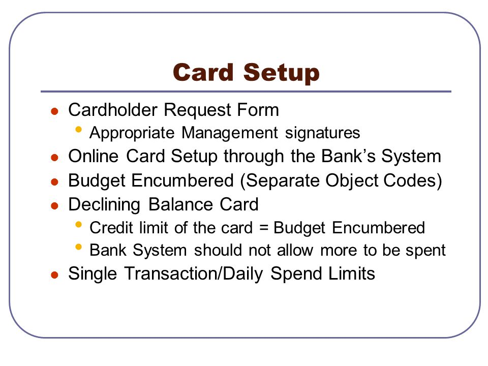 Card Setup Cardholder Request Form