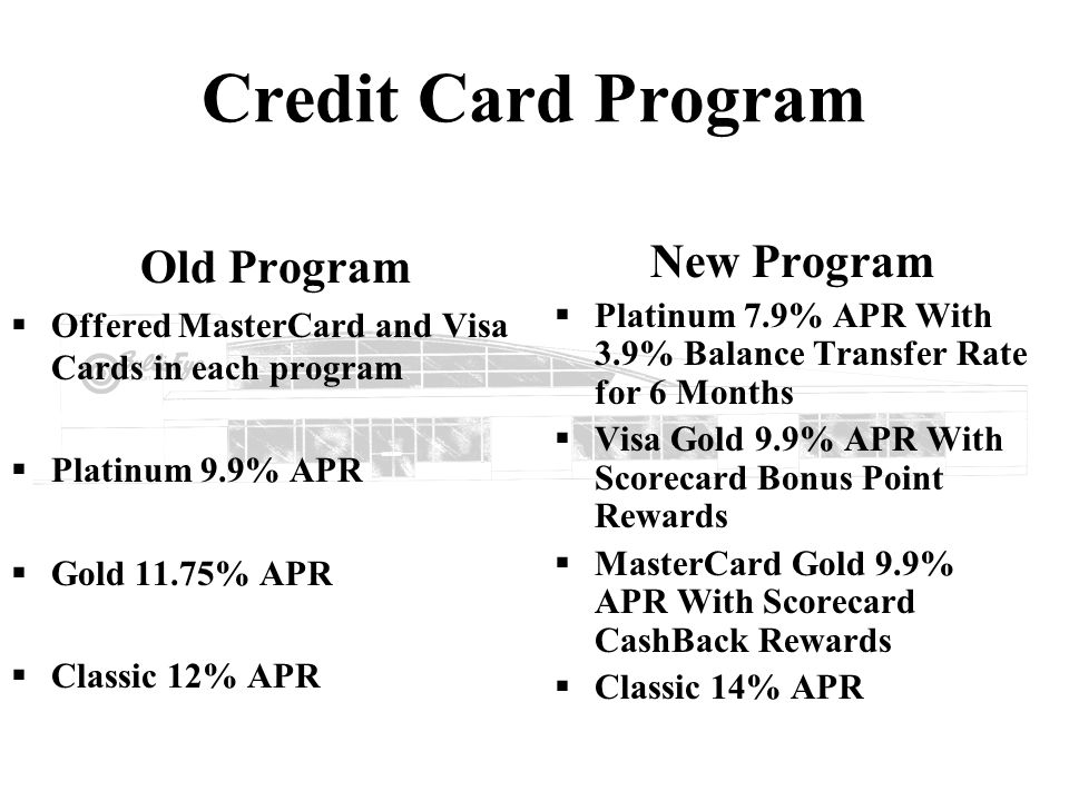 Credit Card Program Old Program New Program
