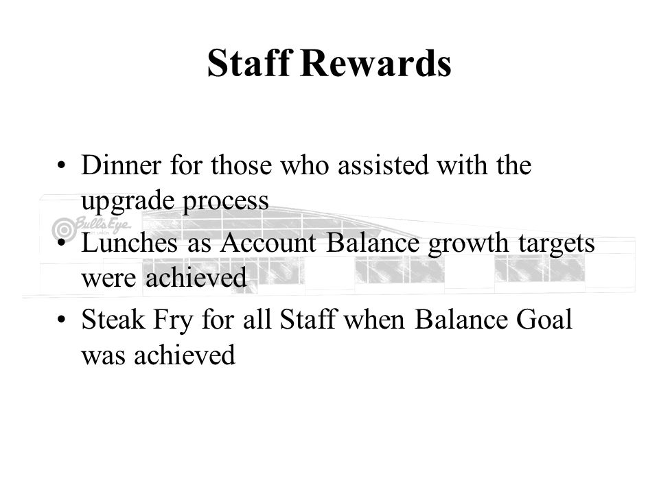 Staff Rewards Dinner for those who assisted with the upgrade process