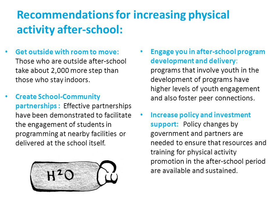 Recommendations for increasing physical activity after-school: