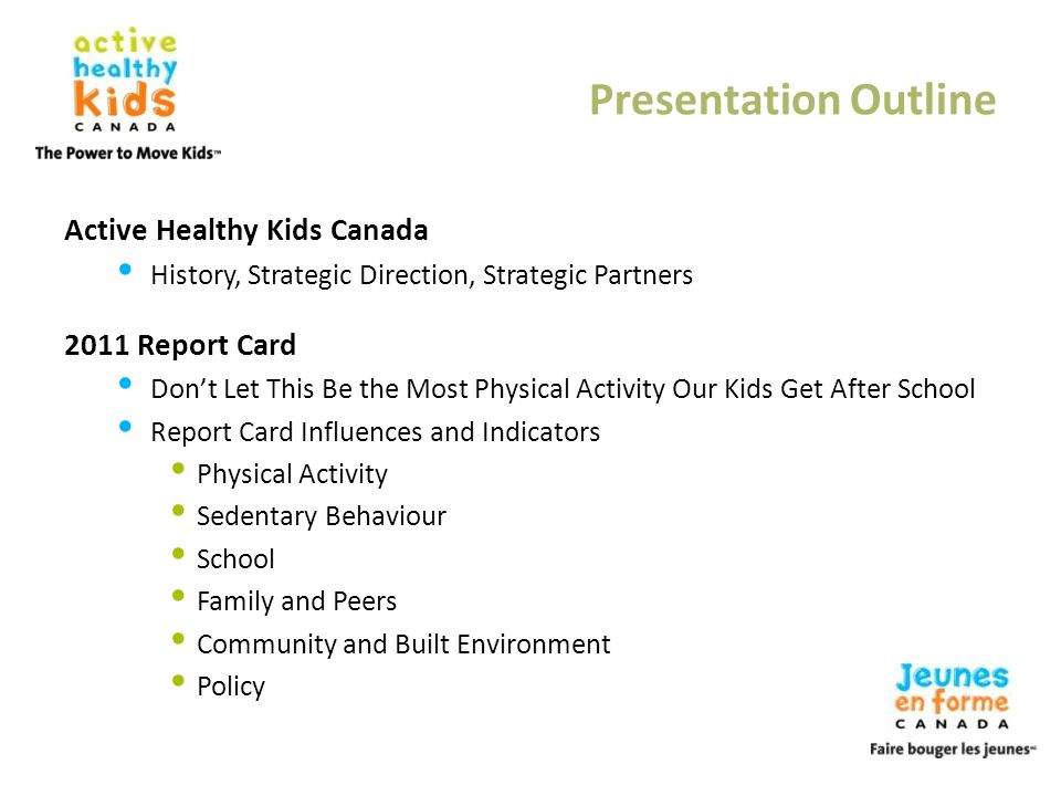 Presentation Outline Active Healthy Kids Canada 2011 Report Card