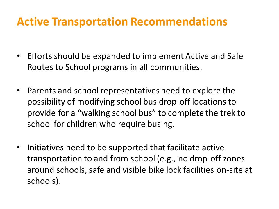 Active Transportation Recommendations
