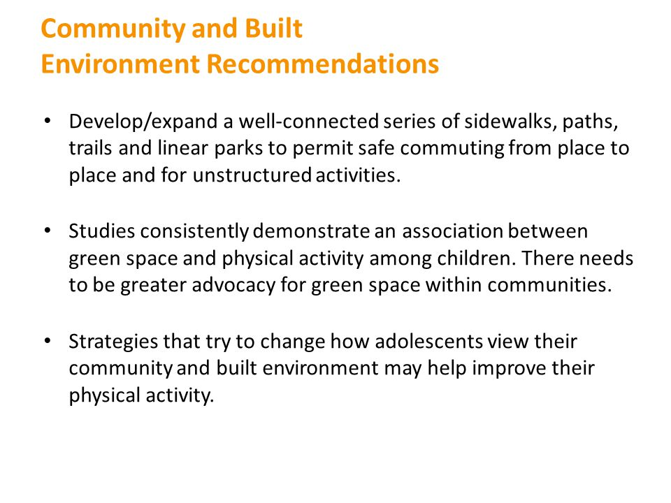 Community and Built Environment Recommendations
