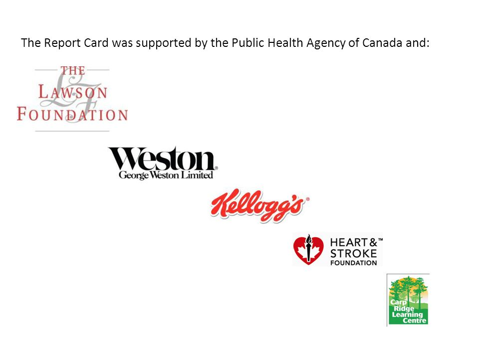 The Report Card was supported by the Public Health Agency of Canada and: