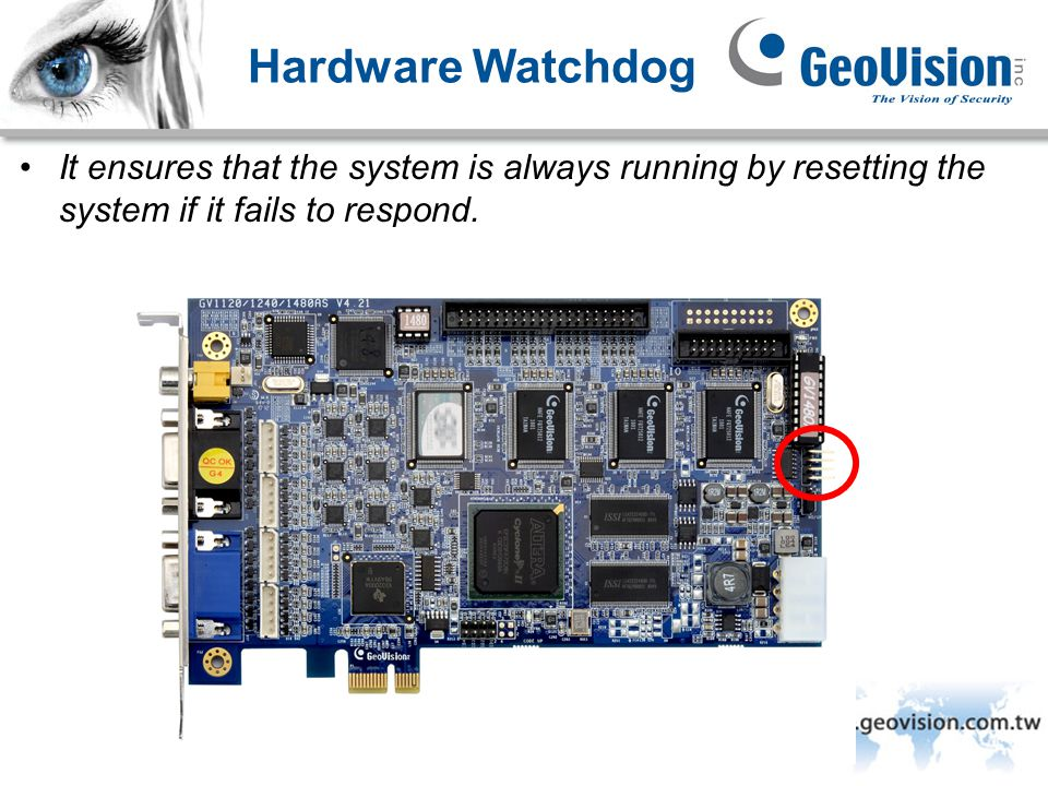 Hardware Watchdog It ensures that the system is always running by resetting the system if it fails to respond.