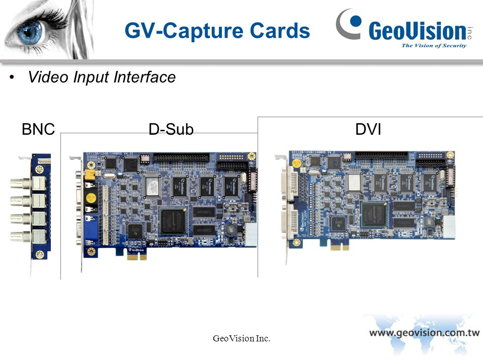 GV-Capture Cards Video Input Interface BNC D-Sub DVI GeoVision Inc.