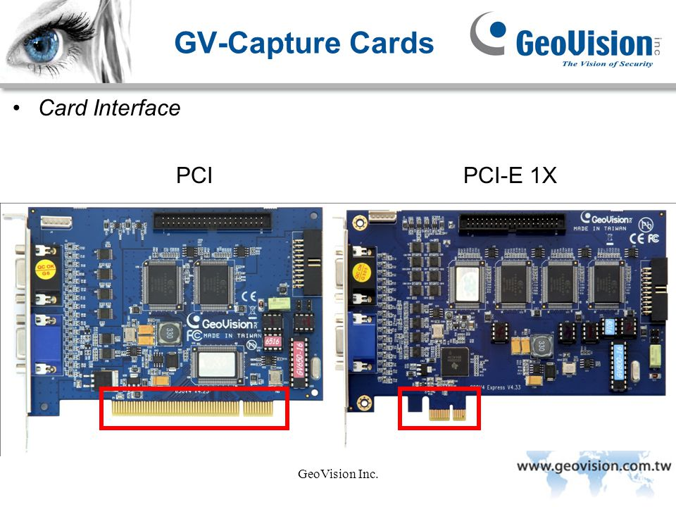 GV-Capture Cards Card Interface PCI PCI-E 1X GeoVision Inc.