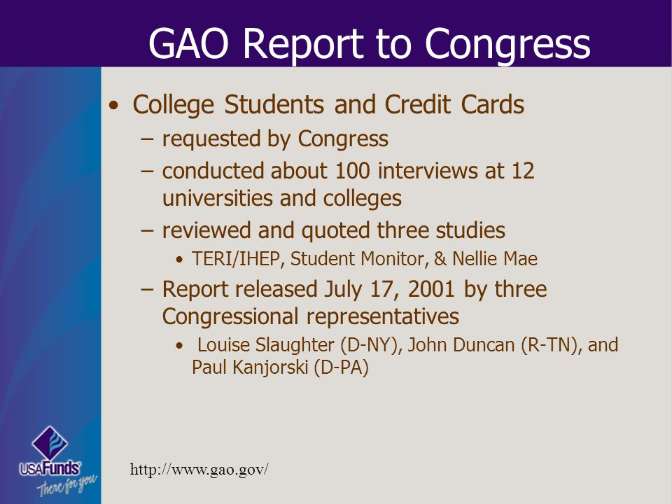 GAO Report to Congress College Students and Credit Cards