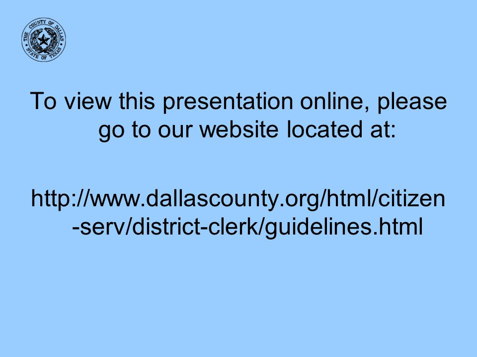 To view this presentation online, please go to our website located at: