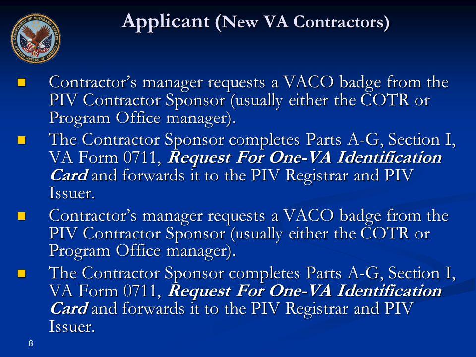 Applicant (New VA Contractors)