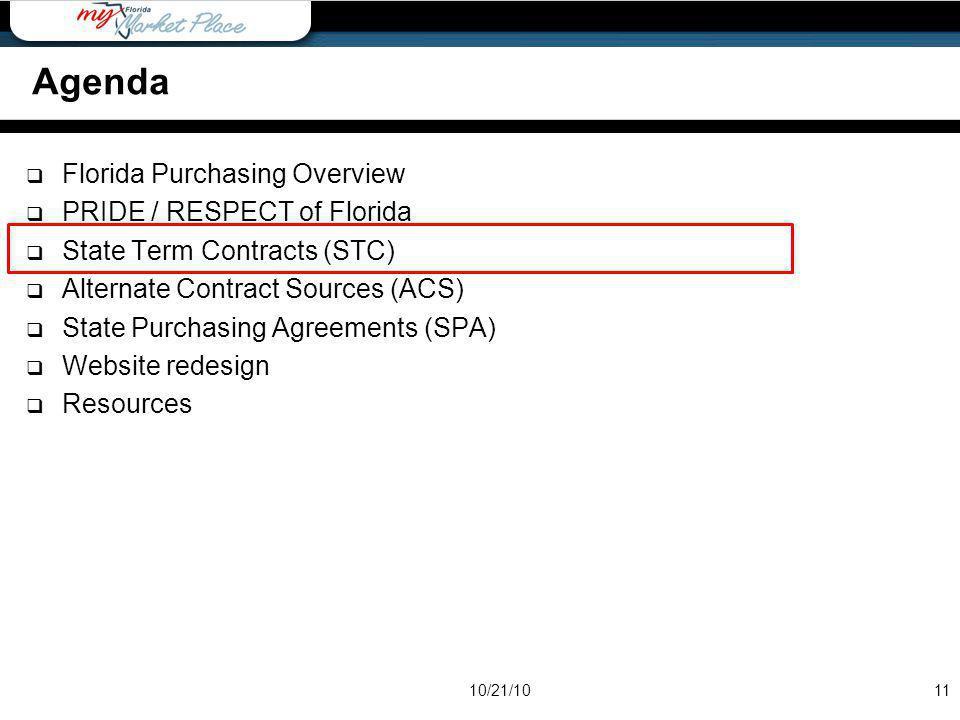 Agenda Agenda Florida Purchasing Overview PRIDE / RESPECT of Florida