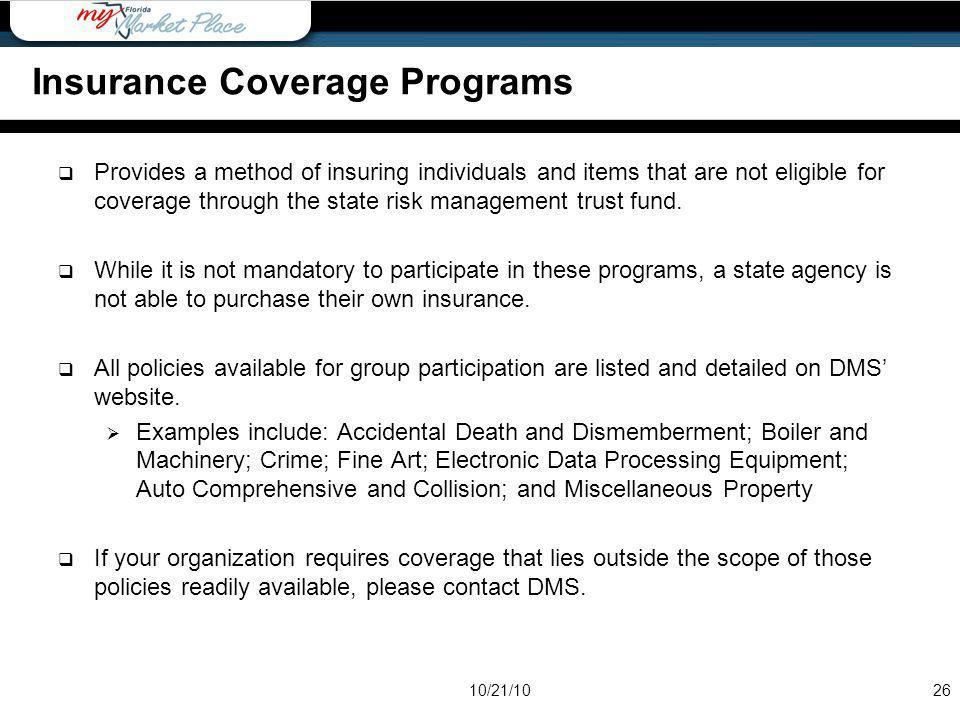 Insurance Coverage Programs