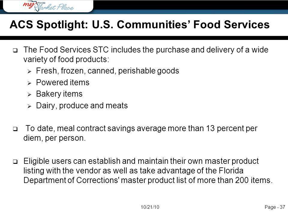 ACS Spotlight: U.S. Communities' Food Services