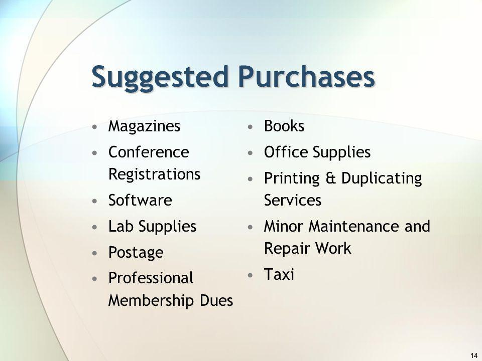Suggested Purchases Magazines Conference Registrations Software