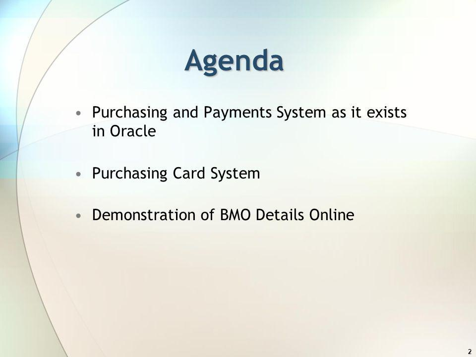 Agenda Purchasing and Payments System as it exists in Oracle