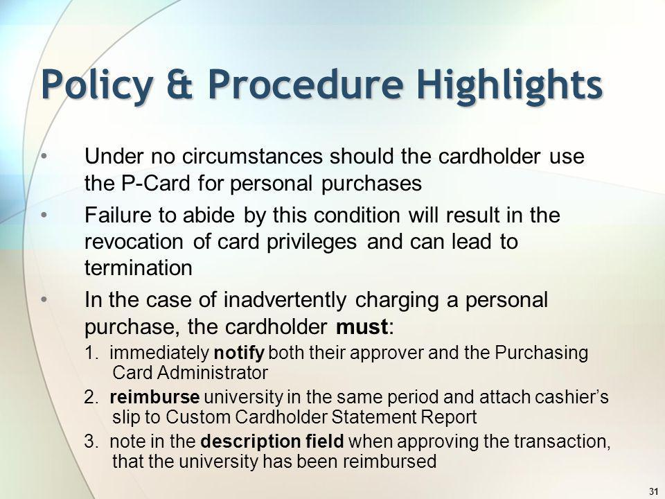 Policy & Procedure Highlights