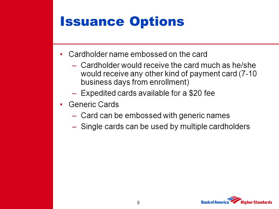 Issuance Options Cardholder name embossed on the card