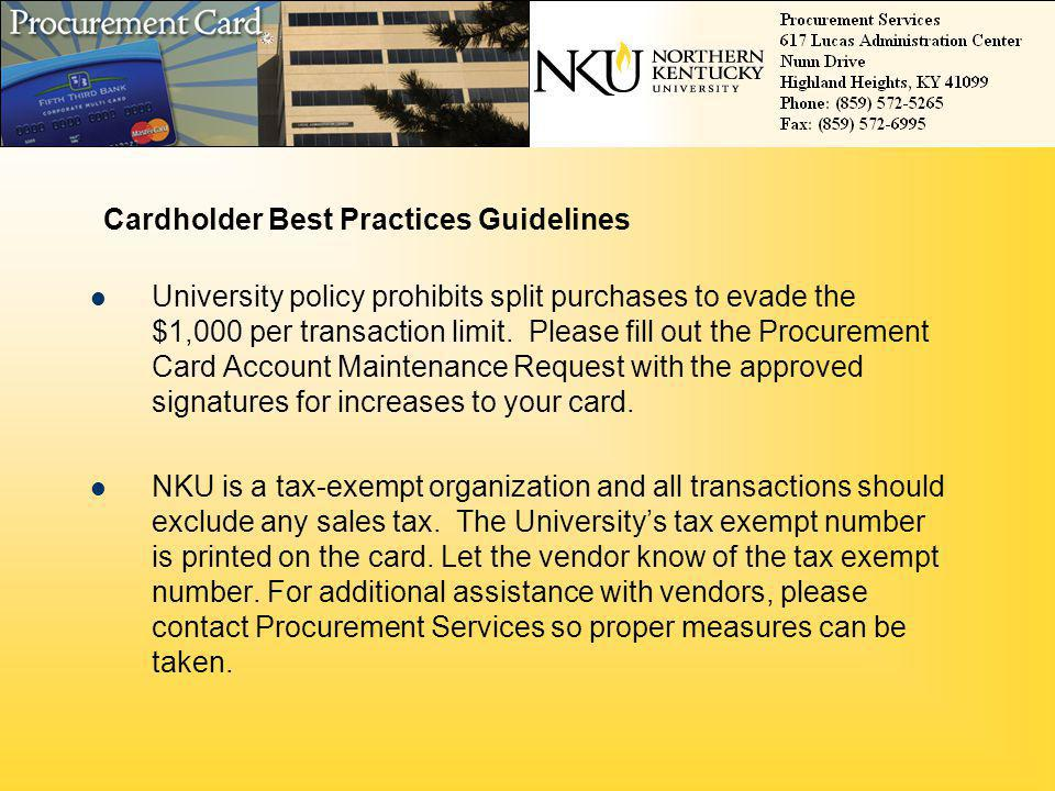 Cardholder Best Practices Guidelines