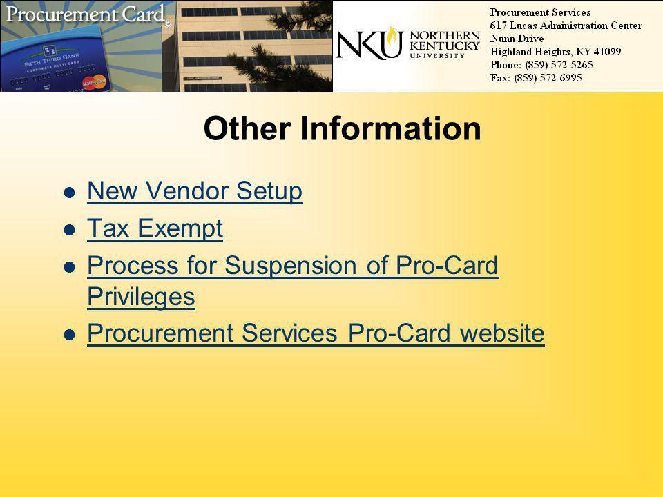 Other Information New Vendor Setup Tax Exempt
