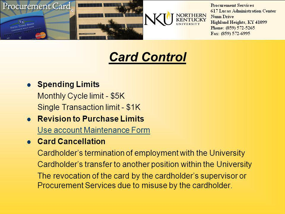 Card Control Spending Limits Monthly Cycle limit - $5K