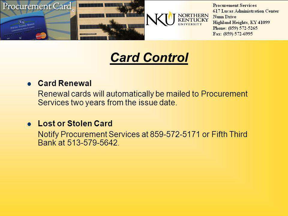 Card Control Card Renewal