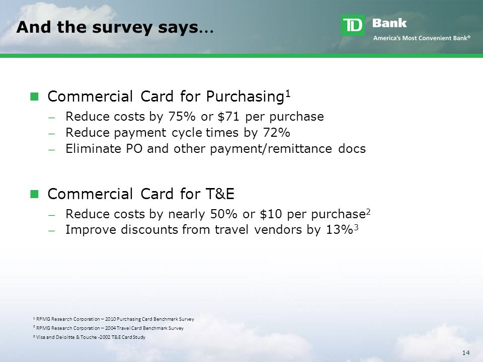 And the survey says… Commercial Card for Purchasing1