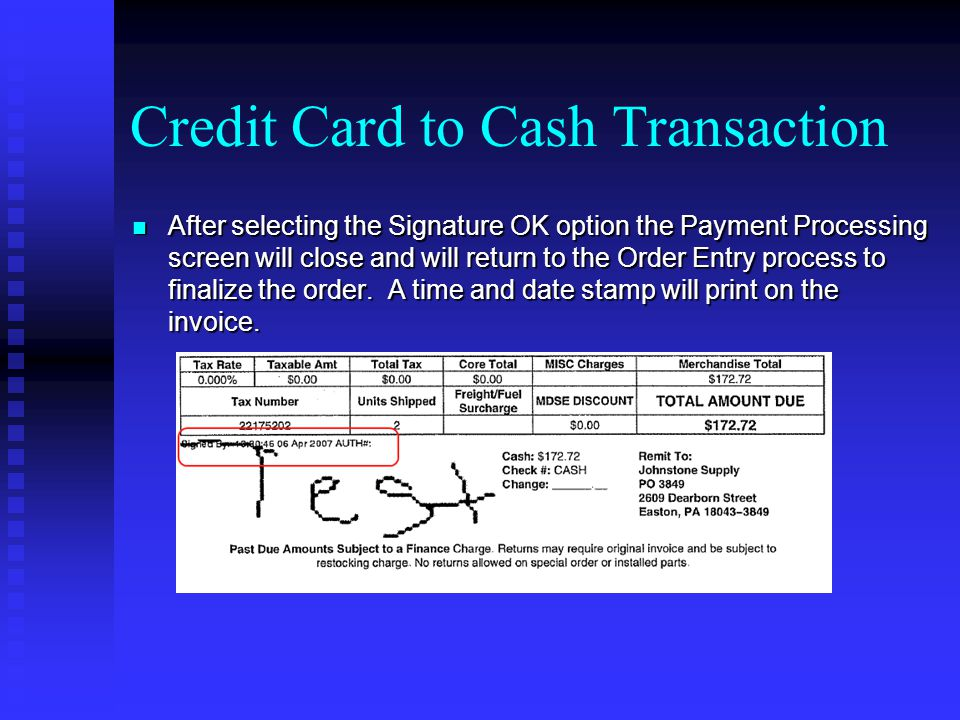 Credit Card to Cash Transaction