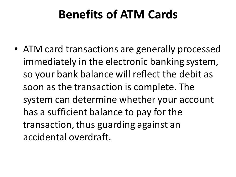 Benefits of ATM Cards