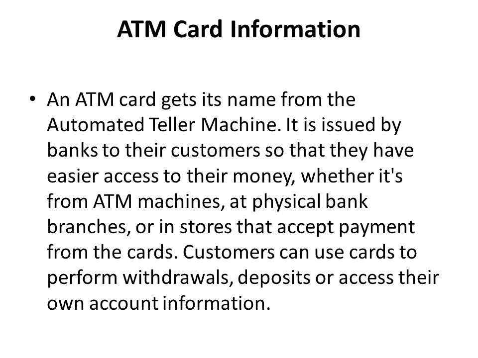 ATM Card Information