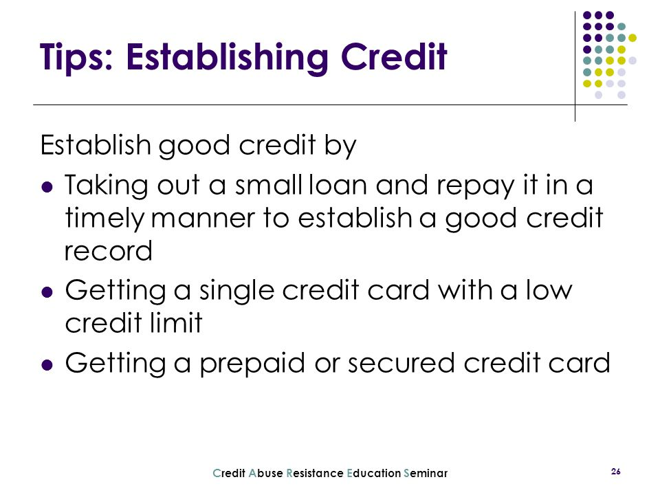 Tips: Establishing Credit