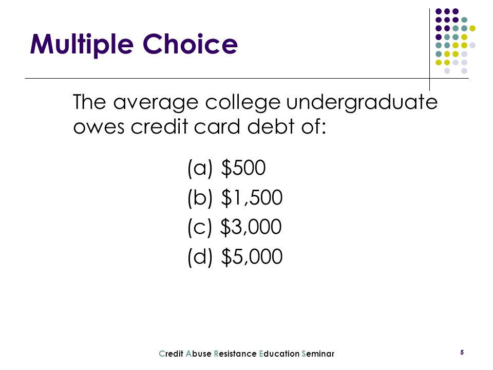 The average college undergraduate owes credit card debt of: