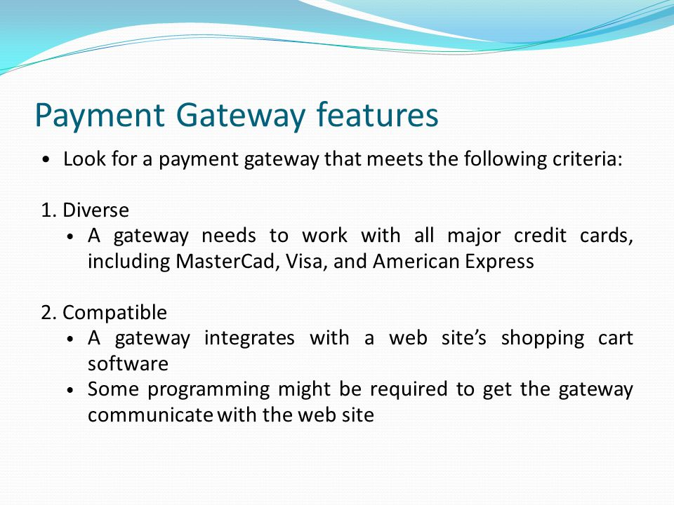 Payment Gateway features