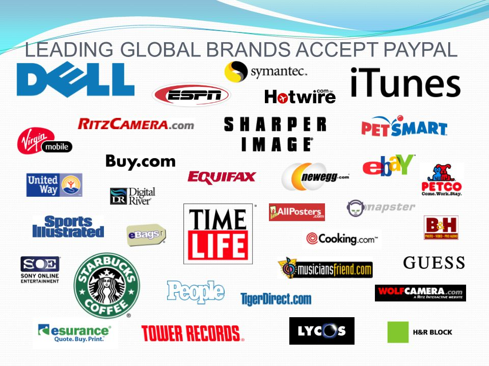 LEADING GLOBAL BRANDS ACCEPT PAYPAL