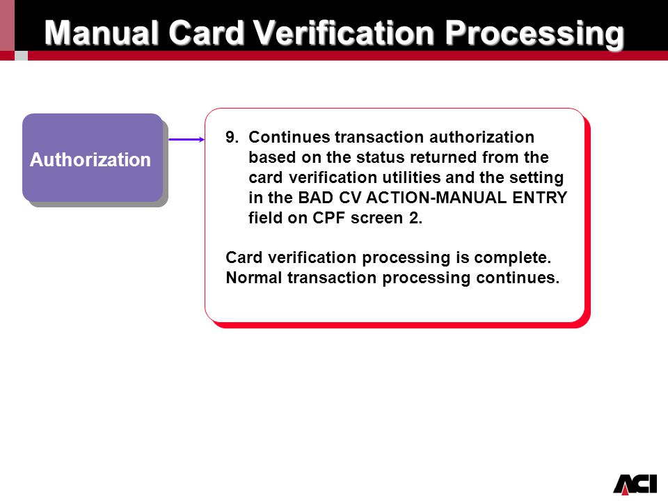 Manual Card Verification Processing