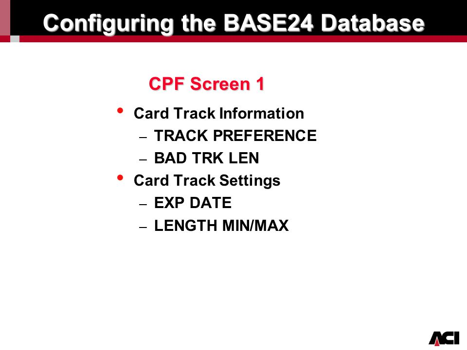 Configuring the BASE24 Database