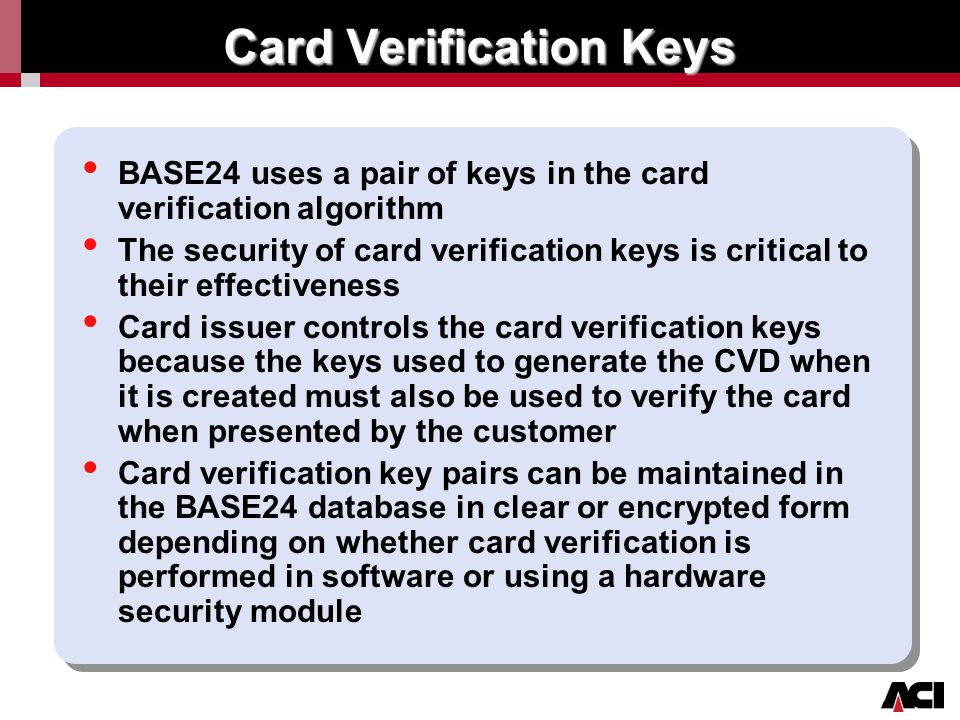 Card Verification Keys