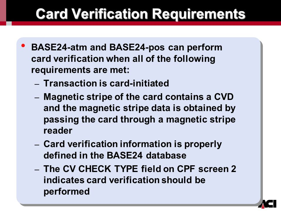 Card Verification Requirements