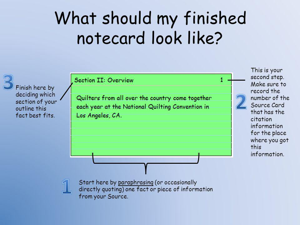 What should my finished notecard look like
