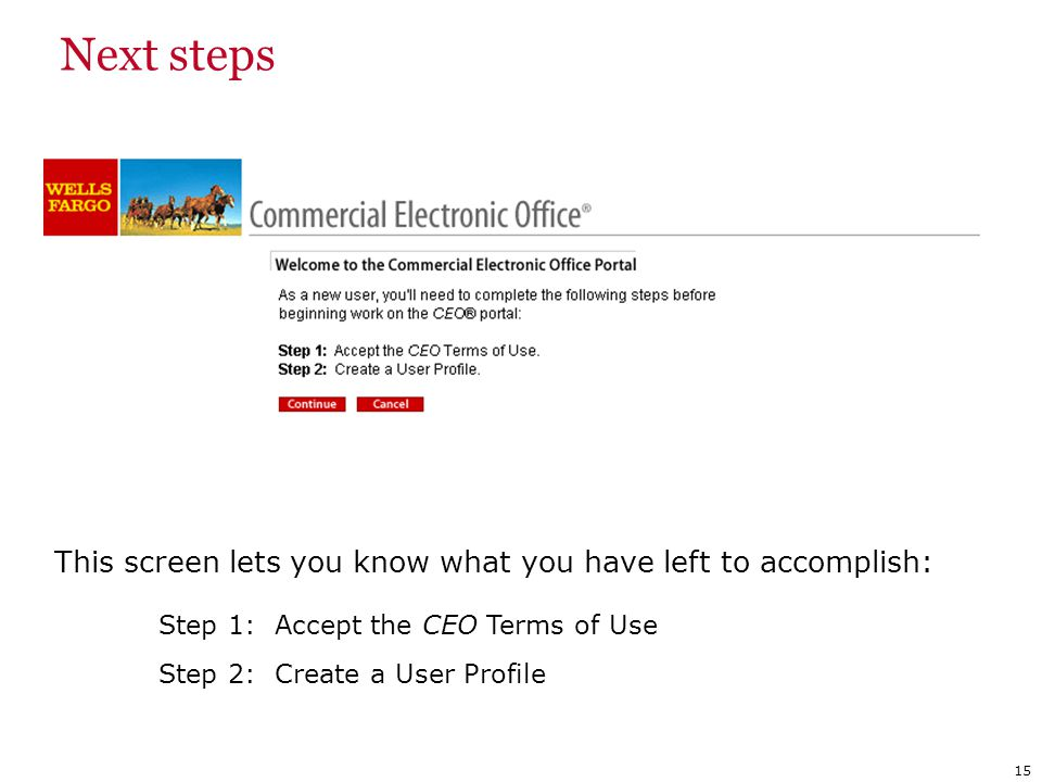 Next steps Step 1: Accept the CEO Terms of Use