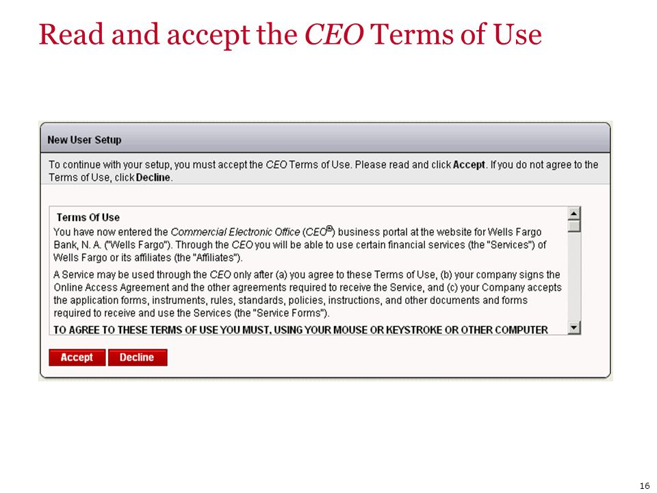 Read and accept the CEO Terms of Use