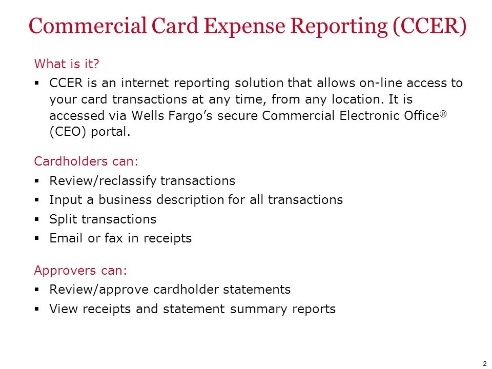 Commercial Card Expense Reporting (CCER)