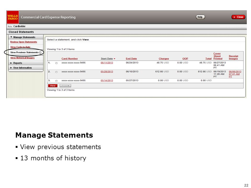 Manage Statements View previous statements 13 months of history